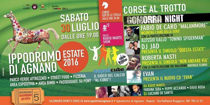 Prosegue anche sabato 30 luglio all'Ippodromo di Agnano il cartellone di eventi e di corse al trotto sotto le stelle (dalle ore 19.00 – ingresso euro 5,…