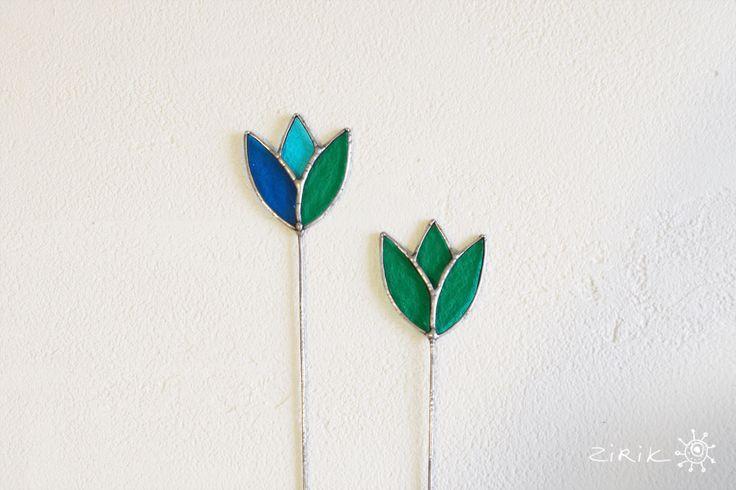 Купить Тюльпан. Витраж. Украшение для цветов - бирюзовый, голубой, зеленый, серебряный, стекляный, Витраж, тиффани