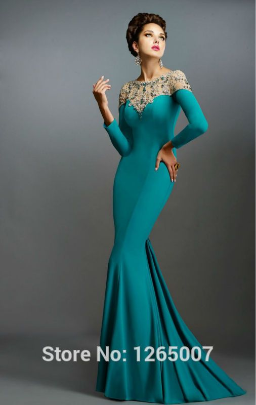 Cheap formal gowns, Buy Quality elegant formal gowns directly from China fashion gowns Suppliers: New Arrival Fashion O Neck Long Sleeves Nice Sparkly Beaded Diamond Long Blue Mermaid Evening Dresses Elegant Formal Gown 2015