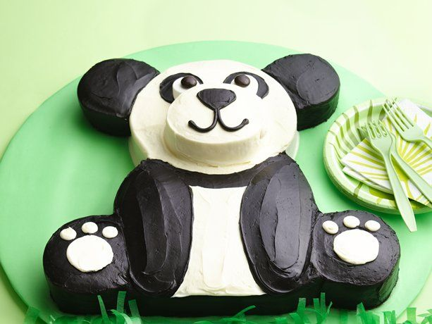 "Panda cake made from two 8"" rounds and a 9x13 cake. (I will be making this next weekend for Becca's birthday.  Fingers crossed!)"