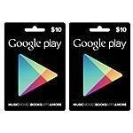 $20 (2-Pack of $10) Google Play Gift Card $14.49  Free Shipping @ BJs Wholesale Club #LavaHot http://www.lavahotdeals.com/us/cheap/20-2-pack-10-google-play-gift-card/71257