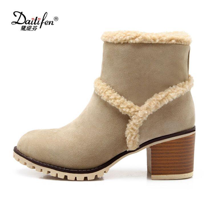 Mode femme Bottes hiver Femme neige en peluche Bottes cheville Flock Zip femmes chaudes Chaussures mode,marron,39