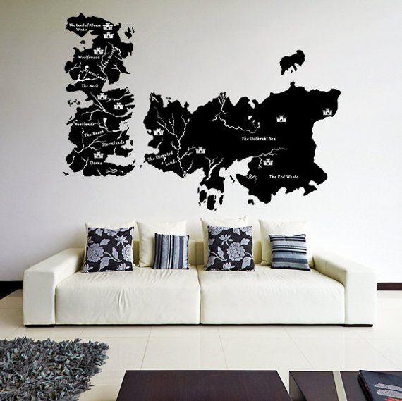 Game Of Thrones World Map Sticker Got Westeros Gift Vinyl Art Large Decal Tv Show Martin Vantage Essos Mural Hand Drawn Westerns Diy Vinyl Wall Decals World Map Sticker Large Decal