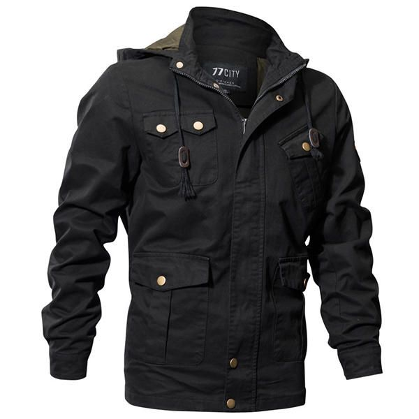 0d352802f17 Casual Work Multi Pockets Washed Cotton Hood Military Jacket - Banggood  Mobile