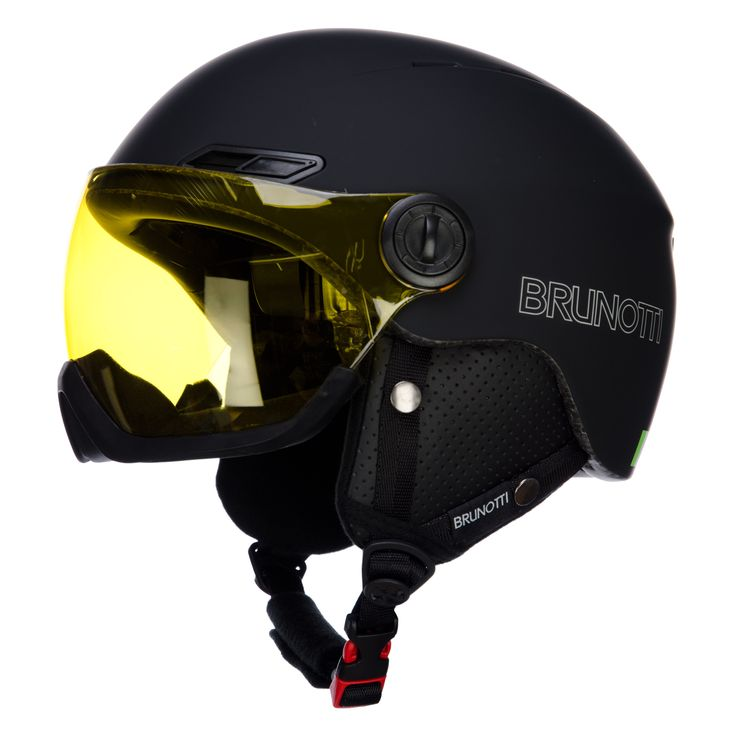 Brunotti Harper 1 ski helmet, with visor, mat black Cool ski helmet with visor and Recco Cool ski helmet with visor of Brunotti. S1 visor for bad weather conditons. With Recco system.    This helmet is perfect for skiers who wear glasses, you wear them under the visor. With soft chin guard.