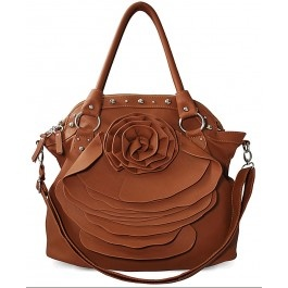 Brown Flower Handbag With Stud Detailing: Shoulder Bags, Woman Handbags, Fashion, Flowers Handbags, Brown Flowers, Kors Bags, Studs Details, Brown Faux, Details 22 99