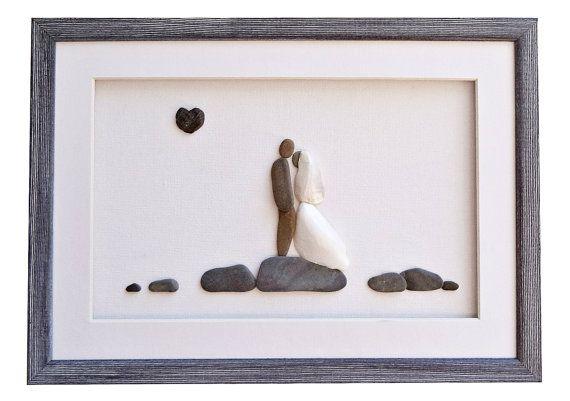 Unique wedding gift Wedding pebble art  bride by PebbleArtDream