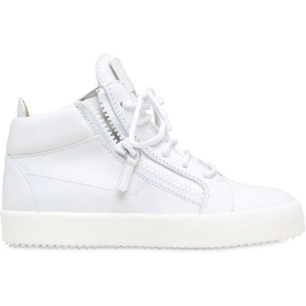 Giuseppe Zanotti Design Women 20mm Leather Mid Top Sneakers ($755) ❤ liked on Polyvore featuring shoes, sneakers, white, leather trainers, leather shoes, rubber sole shoes, white leather sneakers and giuseppe zanotti trainers