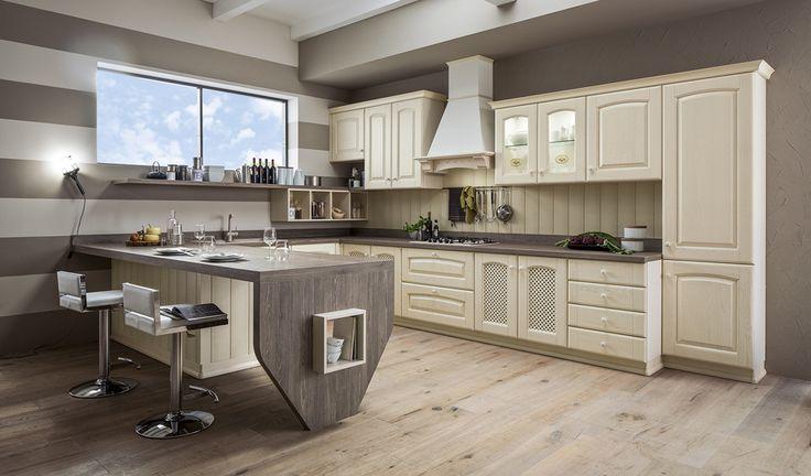 Arrex le #cucine propone Magda, una cucina componibile #classica, progettata nel pieno rispetto della #tradizione e disponibile in legno tinto ciliegio e in decapé beige o azzurro.