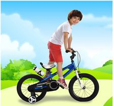 Baby BMX Freestyle Kids Bike Boy's and Girl's with training Wheels 12 Inch Blue
