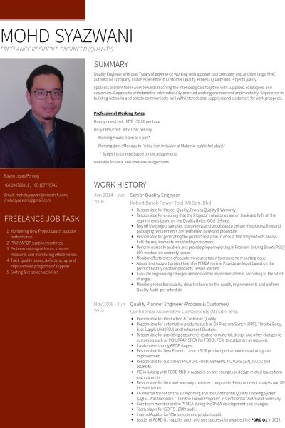 senior quality engineer Resume Example