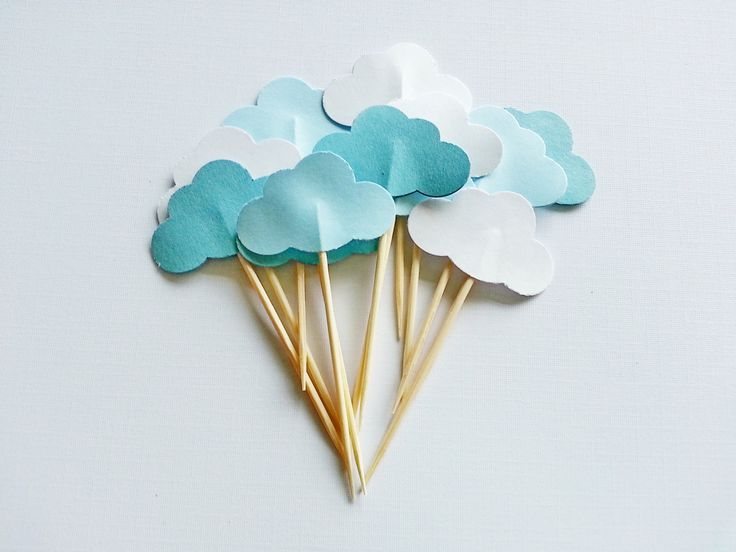 cloud baby shower | 12 Trio Color CLOUD Baby Shower Party Picks / Cupcake by naissance