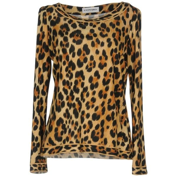 Leonard Paris Blouse ($775) ❤ liked on Polyvore featuring tops, blouses, beige, brown long sleeve top, leopard blouse, leopard print top, round collar blouse and long sleeve blouse