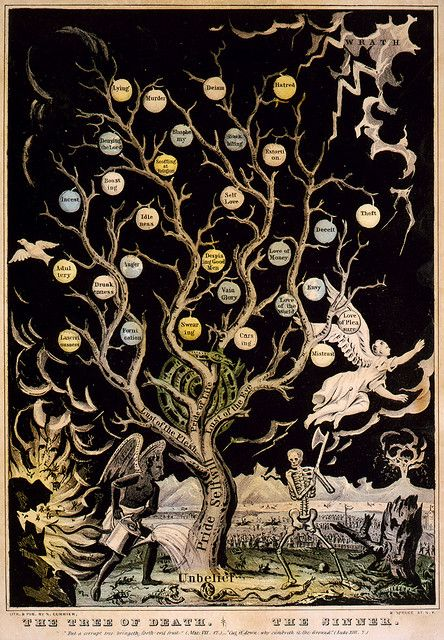 'The Tree Of Death: The Sinner' - lithograph, ca. 1845. Devil watering tree of sins and skeleton about to chop it down. Lithograph by Nathaniel Currier, published by Currier & Ives, New York, between 1835 and 1855.