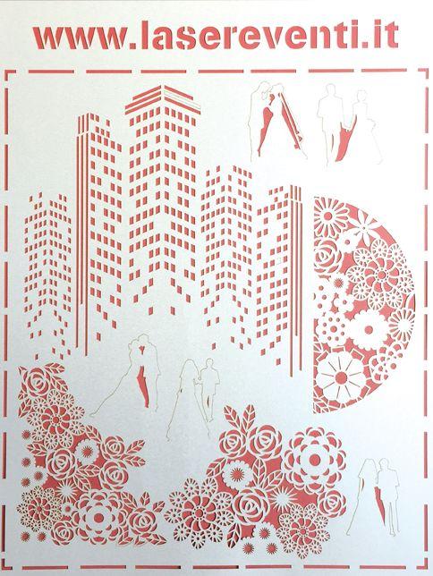 Lavorazione laser su cartoncino, laser paper cut