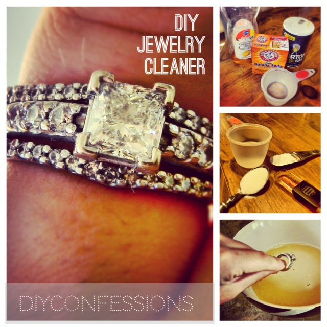 DIY jewelery cleaner, with 1 cup of hot water, 1 Tbs. Baking Soda, 1 Tbs. Salt, 1 Tbs. Dish Soap. Stir all together, put your jewelery into the bowl and let sit for several minutes, rinse with cold water and pat dry.