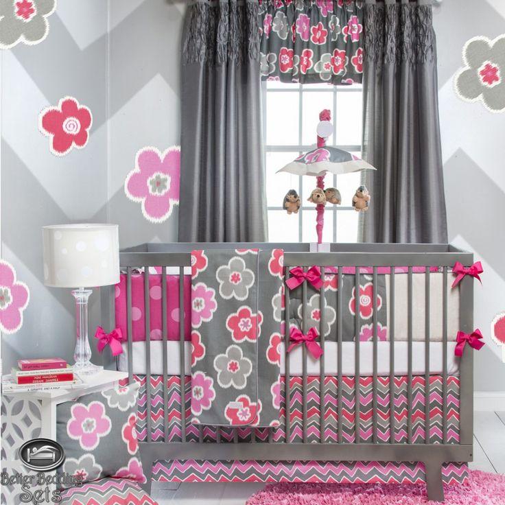 design ideas cute baby girl unique pink gray modern flower quilt crib nursery beautiful modern baby girl crib bedding ideas
