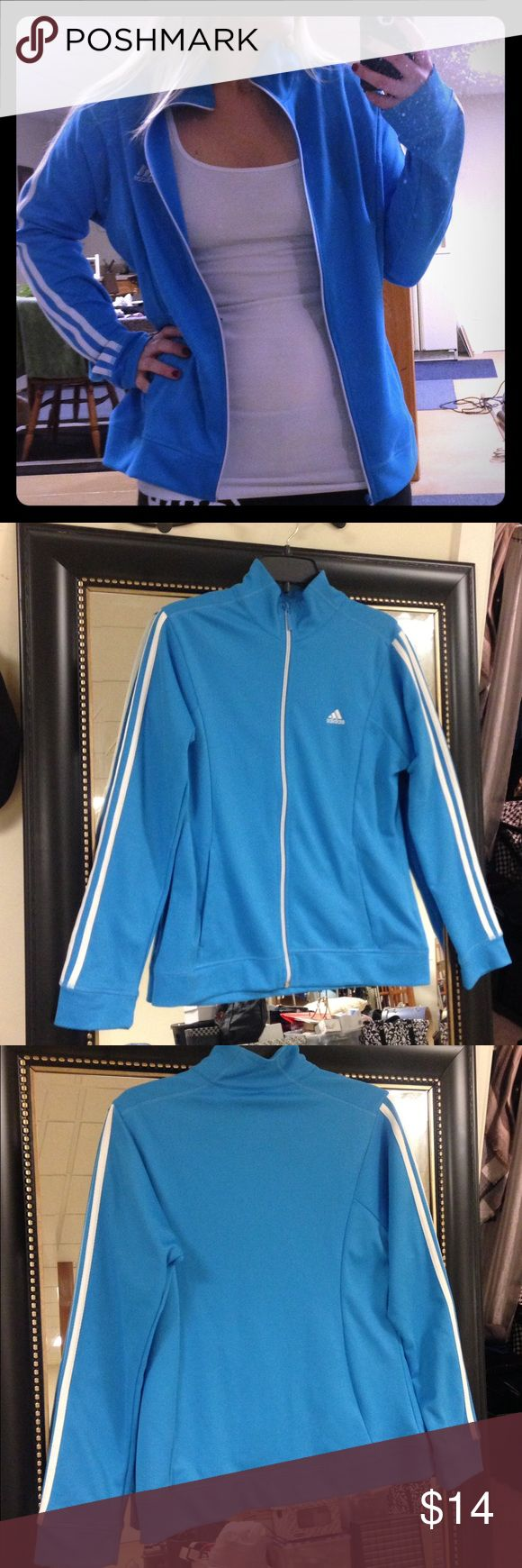Adidas Track Jacket Like new, light blue and white, zip up track jacket. Two pockets. Looks like it's brand new. Size medium. 100% polyester. Adidas Jackets & Coats