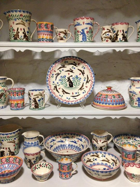Lovely collection of hand sponged pottery by Bell Pottery, Oxfordshire