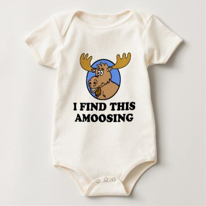 I Find This Amoosing Funny Moose Pun Baby Bodysuit - animal gift ideas animals and pets diy customize