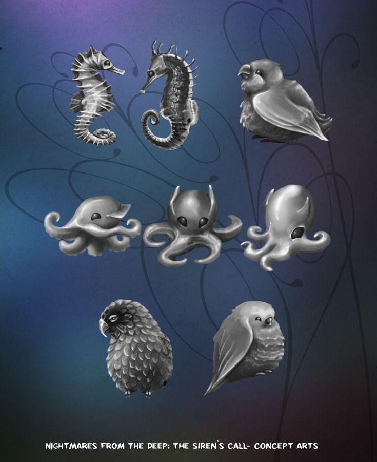 Cute sea creatures :)  #nightmares #kraken #artifexmundi  www.facebook.com/NightmaresFromTheDeep    http://www.artifexmundi.com/page/piraci2