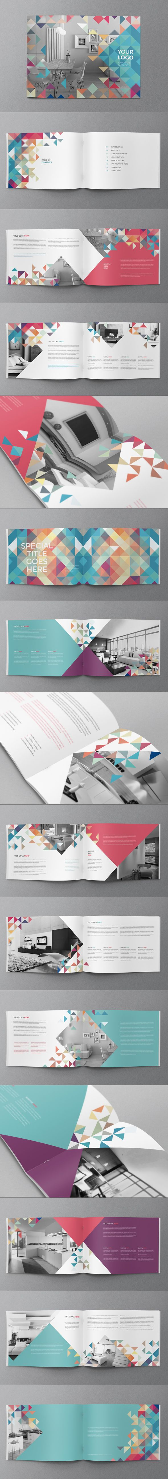 This layout is bright and colourful, I also like the use of geometric shapes as it keeps the spread interesting.