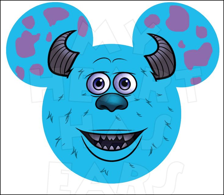 Mickey Mouse dressed as Sully from Monsters Inc. INSTANT DOWNLOAD digital clip art DIY iron on transfer My Heart Has Ears