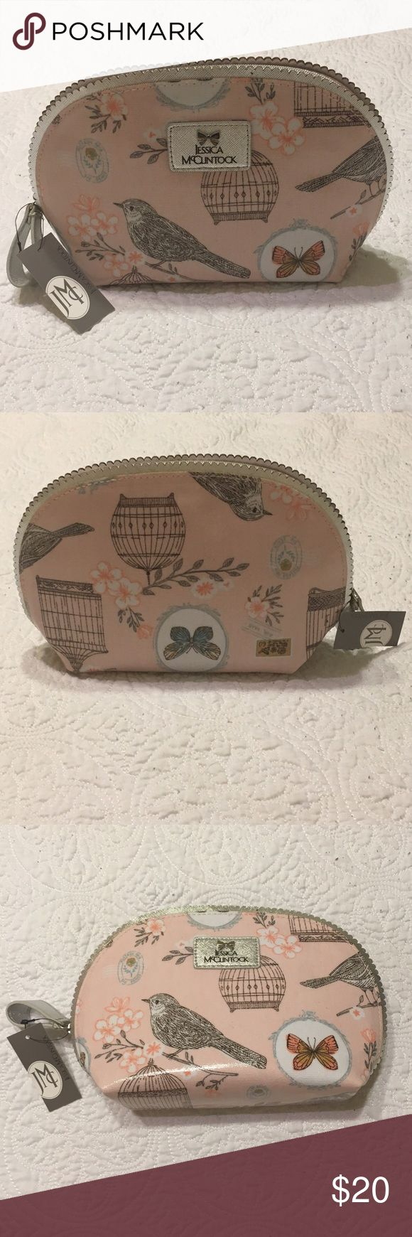 """👛💄NWT Jessica McClintock Cosmetic Bag 💄👛 NWT • Jessica McClintock Cosmetic Bag • Pink/Silver• Bird/Butterfly pattern with scalloped edging • 9""""x6.5""""• Perfect for at home or on the go 🌸 ‼️open to offers ‼️ Jessica McClintock Makeup"""