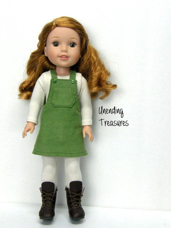 Fern green jumper by Unendingtreasures on Etsy. Made following the Faux Button Jumper for WellieWishers Dolls pattern. Find it here