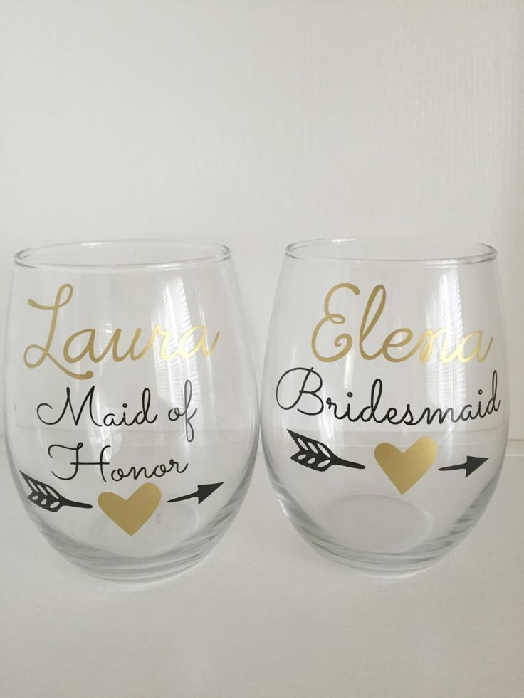 6 Personalized Bridesmaid Gift,Gold Heart Arrow Gifts,Gold Wedding Gifts,Personalized Name Wine Glass,Gold Wine Glass,Gold Bride Gifts by DrinkableWeddings on Etsy https://www.etsy.com/listing/244973254/6-personalized-bridesmaid-giftgold-heart