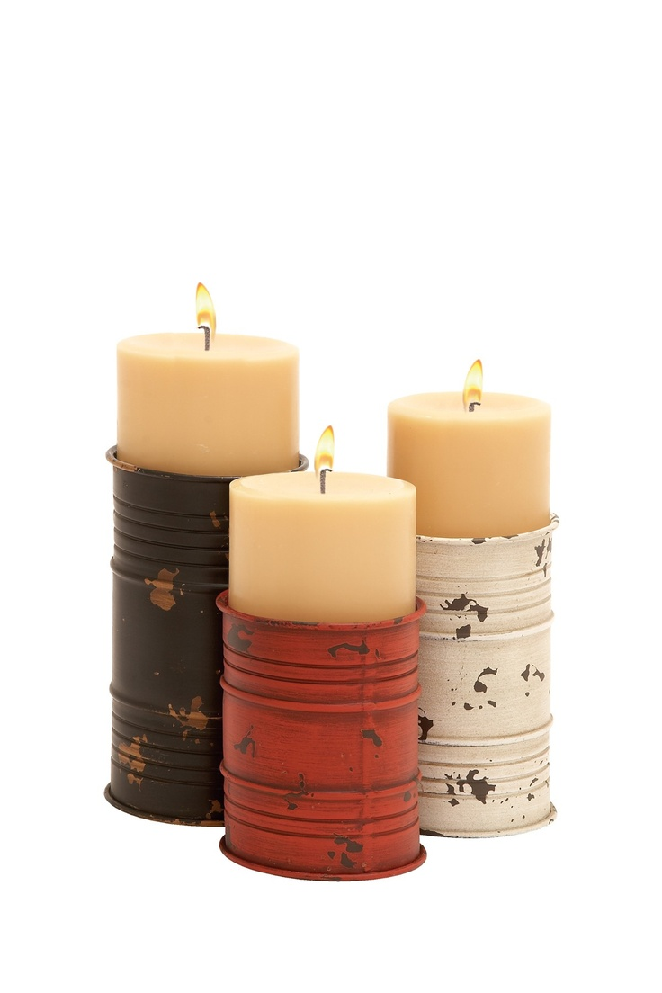 Metal Candle Holders - Red/Brown/White - Set of 3