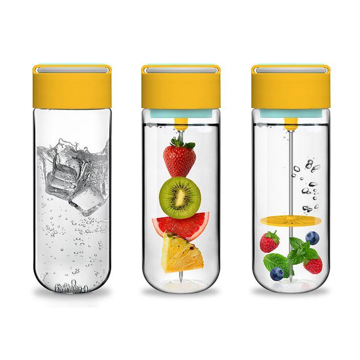 Fruit Skewer Bottle Tritan Food Grade Plastic DIY Detox Water SPA Water Sport Climbing Hiking Camp Cup Outdoor Essential Product