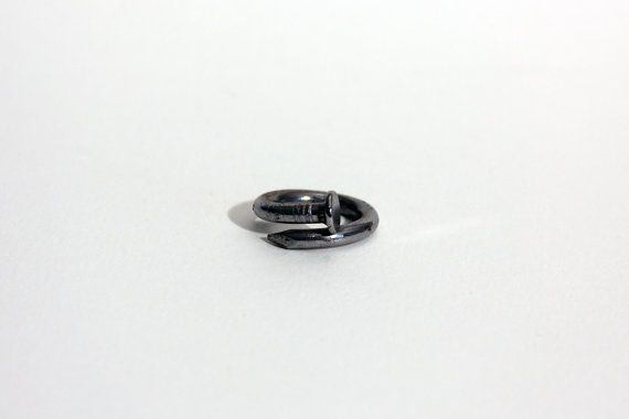 Common Nail Ring // hand forged steel nail ring // Slag + Nacre from Mod Evil