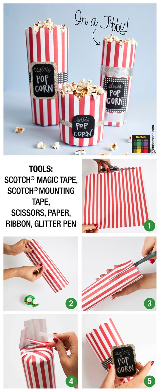 Make your own popcorn party bowl with some @scotchbrand tape!