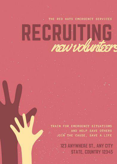Red Hand Vector Volunteer Flyer VOLUNTEER Flyer template