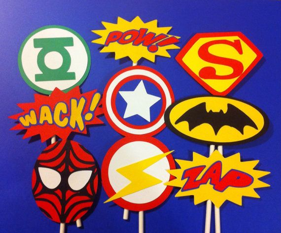 Superhero party ideas, birthday decorations, cupcake toppers