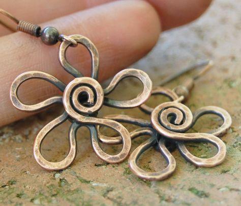 Copper Flower Earrings, Textured, Oxidized, Copper Wire, Wire Jewelry. $22.00, via Etsy.