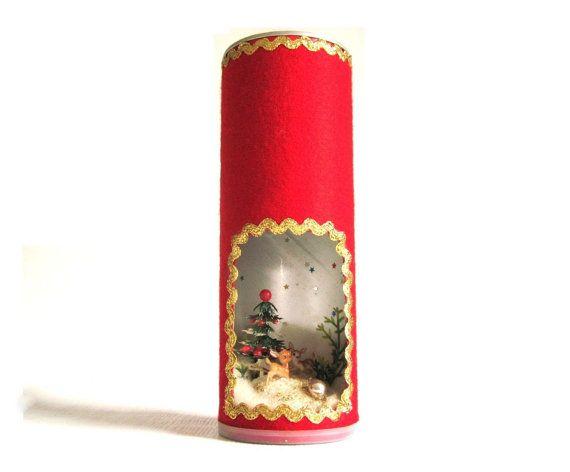 pringles can christmas diorama plastic deer candle kitsch handmade decoration