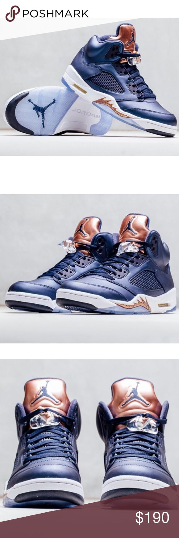 ✨✨{Nike} Air Jordan 5 Retro Men's size 8, equivalent to women's size 9 (26 cm, U.K 7). Brand new in box, never been worn. Super cute, color: blue, bronze, and white. Price is firm.   ❌ NO TRADES - SELLING ON POSH ONLY ❌ ❌ NO LOWBALLING ❌  ✅ Bundle Discounts ✅ Ship Next Day of Purchase   % AUTHENTIC Nike Shoes