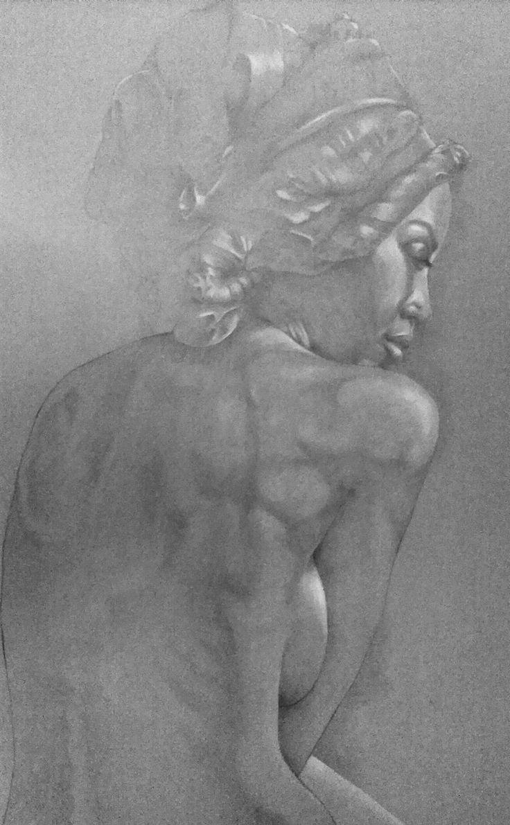 "Kresba ceruzkou ""Žena v turbane"", r.2016, Autor: Daniel BORIS."