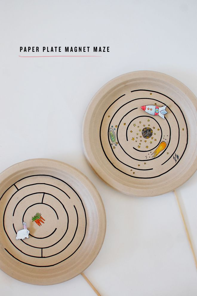This is a really fun idea! You need a limited amount of supplies, and you can customize the maze any way you want!  camp home: paper plate magnet maze