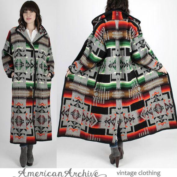 Southwestern Coat Ethnic Coat Blanket Jacket by americanarchive