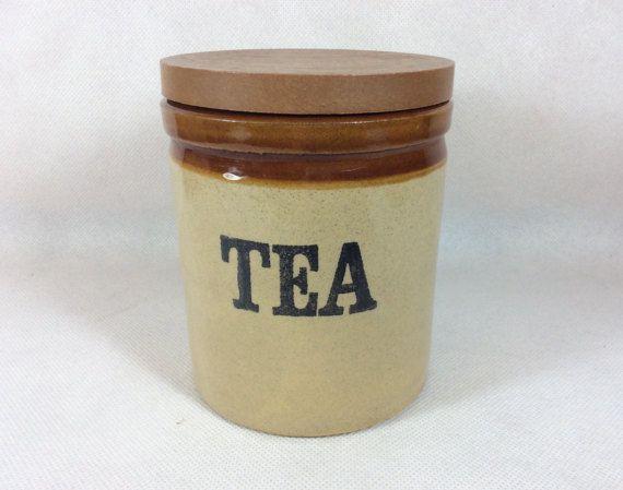 Vintage tea caddy jar storage canister 1980s Moira English pottery tea jar farmhouse stoneware rustic design jar cottage kitchen 0100