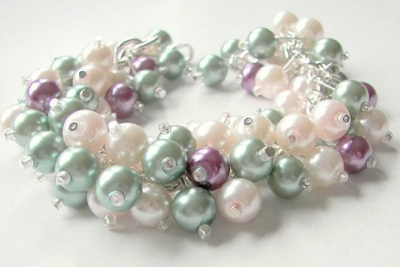 Pearl Cluster Bracelet - Mint, Purple and Pale Pink Pearls, Bridesmaid Jewelry, Prom Jewelry, Chunky Pearl Bracelet