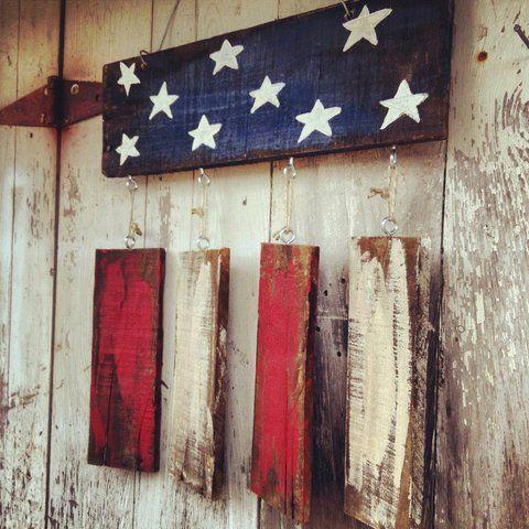 Rustic flag Door hanger, Patriotic Door hanger, Welcome sign, american flag, shabby chic flag, 4th of july decor