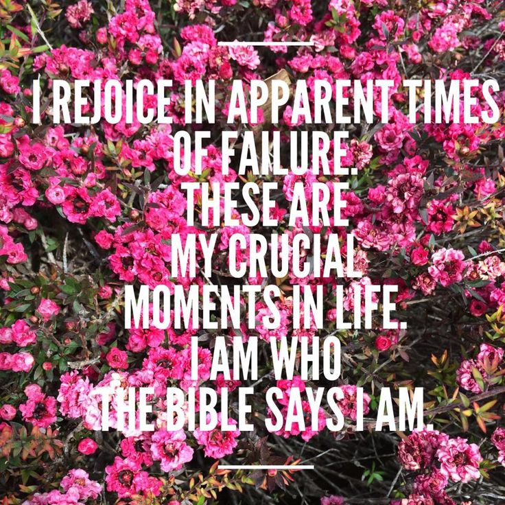 I rejoice in apparent times of failure. These are my crucial moments in life. I am who The Bible says I am http://reneefisher.com/can-people-change/