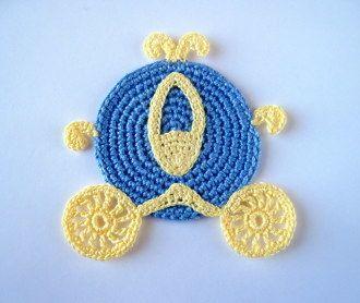 Crochet Pattern Cinderella Carriage Applique, Coasters, Motif | YouCanMakeThis.com