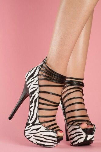 Zebra strapped sexy heels www.JuntosLubricants.com