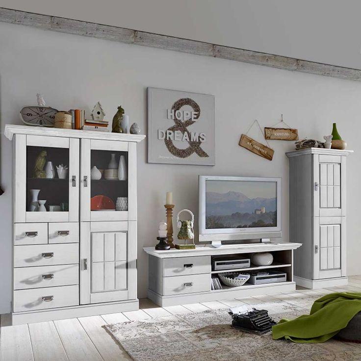 Wohnzimmer Schrankwand In Weiss Skandinavisches Design 3 Teilig Jetzt Bestellen Unter
