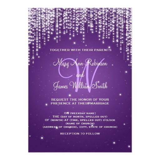 Elegant Wedding Night Dazzle Purple Invitation
